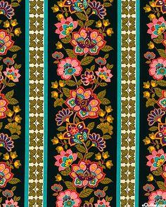 eQuilter Belize - Folk Flower Stripe - Black