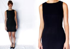 1990s Black MINI Dress Extra Small XS Tank Short Evening Party 90s Vintage Cocktail Little Black Dress LBD Small S Sleeveless Mod Fitted