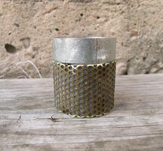 Silver Brass Colored Metal Candle Holder   Industrial by PaulaArt, $26.00