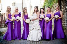 nice example of different styles same color.Alvina Valenta bridesmaid dress style 9265 style 9221 style 9273 style 9267 and Jim Hjelm Occasions bridesmaid dress style 5169 and style 5170 in Purple Mikado. One Shoulder Bridesmaid Dresses, Mermaid Bridesmaid Dresses, Wedding Bridesmaid Dresses, Brides And Bridesmaids, Bridesmaid Ideas, Dress Wedding, Lace Wedding, Formal Wedding, Purple Wedding