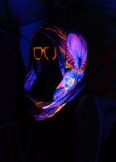 Pink Sparkle Love Blacklight Reactive Festival by FractalGlowSF
