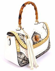 HAND BAG 2734F1029 BIANCO Oro Borsa Mano Bauletto Borchie Donna Primavera 2017