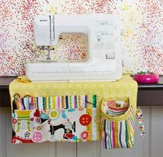 This sewing machine apron is so useful and handy to have by your sewing machine. It has lots of pockets so you can have all your sewing tools close at hand