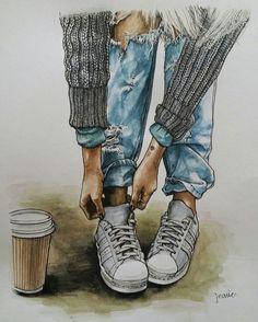 Illustration Mode, Illustrations, Cute Girl Drawing, Digital Art Girl, Color Pencil Art, Fashion Art, Fashion Design, Shoe Art, Anime Art Girl