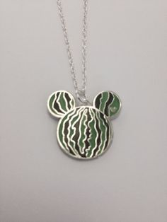 Watermelon Mickey Ears Fruit Hidden Mickey Up-Cycled Disney Trading PINdant Necklace