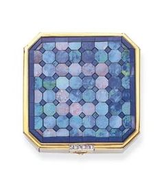 AN ART DECO BLACK OPAL BOX, BY TIFFANY & CO. The Square Mosaic Black Opal Box, Outline Enhanced by Single-Cut Diamond Clasp, Mounted in 18 K Gold, circa 1920, with French Assay Marks and Maker's Marks. Signed Tiffany & Co.