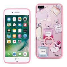 Reiko REIKO IPHONE 7 PLUS PERFUME DESIGN CLEAR CASE WITH ROTATING RING STAND HOLDER IN PINK