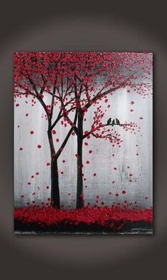 Original Red Abstract Textured Acrylic Painting On Canvas Trees And Birds