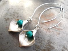 Turquoise drop earrings extra long calla lily by karmelidesigns, $22.00