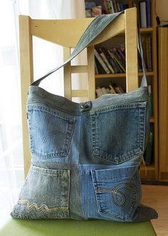 Deconstructed Denim Tote Bag, Multi Pockets, Patchwork, All Repurposed Materials, Washable, Big