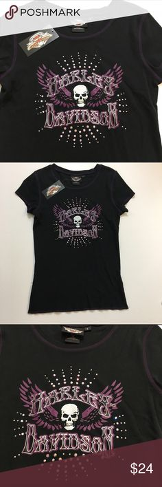 "Harley Davidson Skull & Stones T-Shirt - NWT NWT - Harley Davidson Skull & Stones T-Shirt with rhinestone design. 100% Cotton  Measures (approx)   Pit to pit (flat lay) - 15.5""   Length - 24"" shoulder to hem Harley-Davidson Tops"