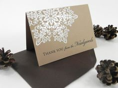 Rustic Snowflake Wedding Thank You Card by WhiteGownInvitations, $1.75