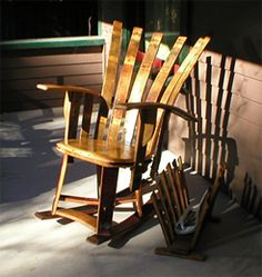 Whiskey barrel chair. Love Wine Furniture, Furniture Making, Barrel Projects, Farm Projects, Outdoor Projects, Bourbon Barrel Furniture, Wine Barrel Chairs, Rustic Cabin Decor, Rocking Chair