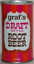 Vintage soda pop steel can GRAFS DRAFT STYLE ROOT BEER bottom opened n-mint cond