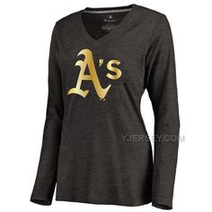 http://www.yjersey.com/oakland-athletics-womens-gold-collection-long-sleeve-v-neck-tri-blend-tshirt-black.html OAKLAND ATHLETICS WOMEN'S GOLD COLLECTION LONG SLEEVE V NECK TRI BLEND T-SHIRT BLACK Only $30.00 , Free Shipping!