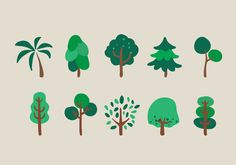 Vector Trees Illustration Set 137288 - Plants free download