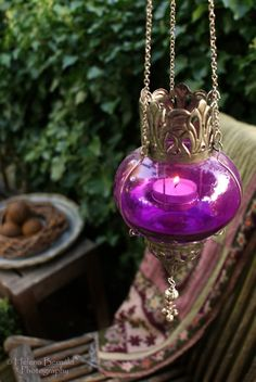 Brass & Purple Glass Tea Light Lantern