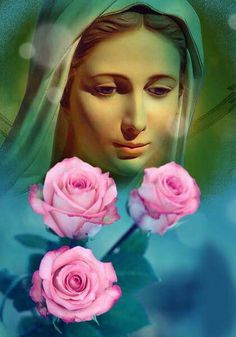 Blessed Mother Mary, Divine Mother, Blessed Virgin Mary, Religious Images, Religious Art, Jesus And Mary Pictures, Blue Roses Wallpaper, Hail Holy Queen, Jesus Painting