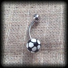 Soccer Ball Belly Button Ring by FamousNavel on Etsy