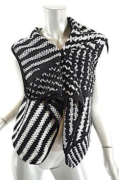 bc1377d2a42 ALEMBIKA Black Cream Polyester Blend Knit Striped Asym. Sweater Vest NWT Sz  S #Alembika