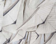 Sails flapping in the wind during a regatta. Here is the inspiration for this design printed on linen.