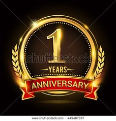 Celebrating 1 years anniversary logo with golden ring and red ribbon. - stock vector