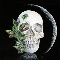 """Melissa Hartley - Deadly nightshade """"La petite lune"""" acrylic on gesso board, 2013 8 x 8 inches, 20.3 x 20.3 cm"""