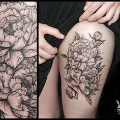 peony tattoo black and grey - Google Search