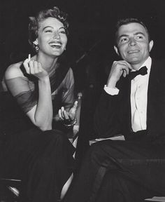 Ava Gardner and James Mason on the set of the East Side, West Side, 1949