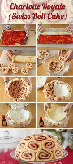 Charlotte Royale (Swiss Roll Cake) f&p are dying to make this impossible dessert. Just Desserts, Delicious Desserts, Yummy Food, Baking Desserts, Italian Desserts, Swiss Desserts, Baking Recipes, Sweet Recipes, Cake Recipes