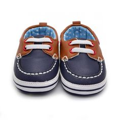 Fashion Boys Baby PU Leather Laces Up Crib Shoe Anti-Slip Prewalkers 0-18 Month