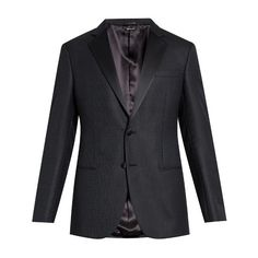 Giorgio Armani Satin-lapel single-breasted tuxedo jacket ($1,998) ❤ liked on Polyvore featuring men's fashion, men's clothing, men's suits, navy, mens tailored suits, giorgio armani mens suits, mens navy suit, mens navy blue suit and mens peak lapel suits