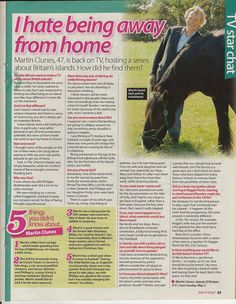 Martin Clunes - Take It Easy Article Martin Clunes, Take It Easy, Movie Stars, Interview, Songs, Song Books