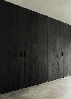 Black beauty by yours truly - benoit_viaene Interior Walls, Interior Design Kitchen, Interior Decorating, Joinery Details, Kindergarten Design, Black Wood, Wabi Sabi, Textured Walls, Interior Architecture