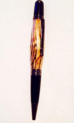 Handcrafted pen, spalted, Mesa Gun Metal, by Tim Frock