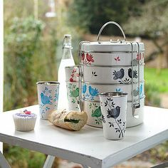 hand painted cups and tiffin box