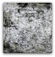 Large abstract painting silver black charcoal by studioARTificial