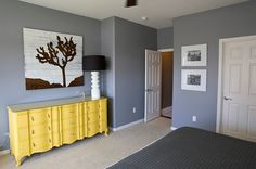 yellow dresser in gray master bedroom with white/black accents - like the colors Grey Room, Gray Bedroom, Master Bedroom, Bedroom Decor, Design Bedroom, Bedroom Ideas, Stylish Bedroom, Bedroom Colors, Modern Bedroom