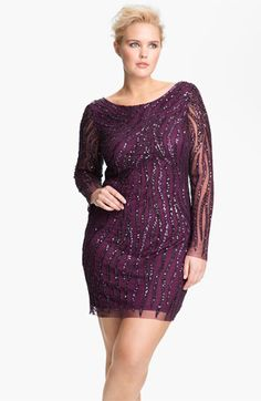 This is BAD ASS! I love the fierceness of the sequin flames! Aidan Mattox Sequin Pattern Mesh Sheath Dress (Plus) available at #Nordstrom