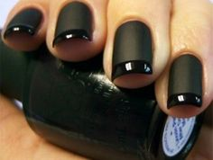I like girls with black nail polish and I like girls with french manicures. This is a black french manicure. Go get this now and become twice as sexy! Black French Manicure, Matte Black Nails, Matte Nail Polish, Nail Polish Trends, Black Polish, Dark Nails, Shiny Nails, Nail Trends, Long Nails