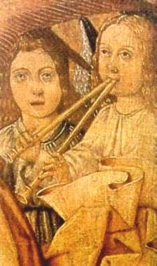 double recorder, XVth century painting