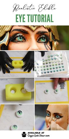 How to make a realistic edible eyeball made with isomalt, edible images and Liz Marek's eye molds for a super realistic eye perfect for sculpted cakes. Cake Decorating Techniques, Cake Decorating Tutorials, Cookie Decorating, Fondant Cake Tutorial, Fondant Cakes, Fondant Rose, Fondant Baby, 3d Cakes, Fondant Flowers