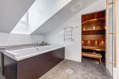 Penthouse bathroom with both bath and sauna. Steam Room, Room Inspiration, Alcove, Bathtub, Bathroom, Standing Bath, Washroom, Bathtubs, Bath Tube