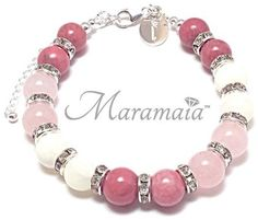 Rhodonite,  Rose Quartz and Mother of Pearl Sterling Silver Bracelet. * Protection     * Calming * Sincerity * Self Confidence          * Love.
