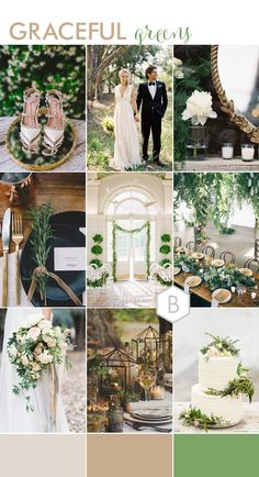 Graceful Greens Wedding moodboard inspirations for Bloved Blog