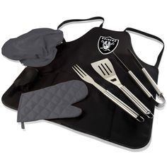The Oakland Raiders BBQ Apron Tote Pro by Picnic Time stands out with Raiders tailgating spirit as well as practical features and style. It conveniently folds into an easy-to-carry tote complete with