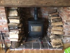 The new old look log burner inter grated in the central heating system