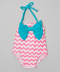 Look at this Dippin' Daisy's Swimwear Pink & Teal Chevron Bow One-Piece - Infant & Toddler on #zulily today!