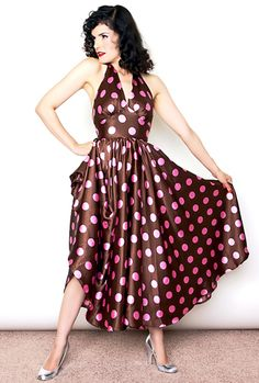 Broad Minded Clothing - Lookie Lookie, Here Comes Cookie! 1950's Halter Swing Dress in Cocoa & Pink Satin Jumbo Dots!