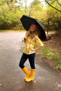 Yellow Rain Boots, Wellies Rain Boots, Pink Boots, Winter Outfits, Summer Outfits, Cute Outfits, Boot Outfits, Yellow Plaid Shirt, Gingham Shirt